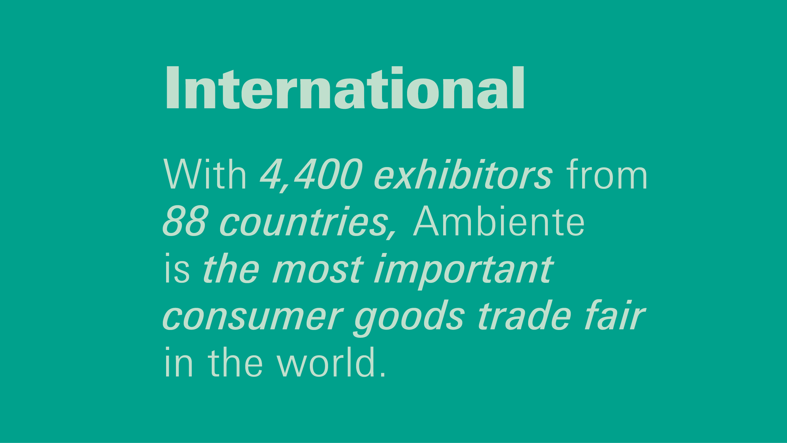Advantages Ambiente: International