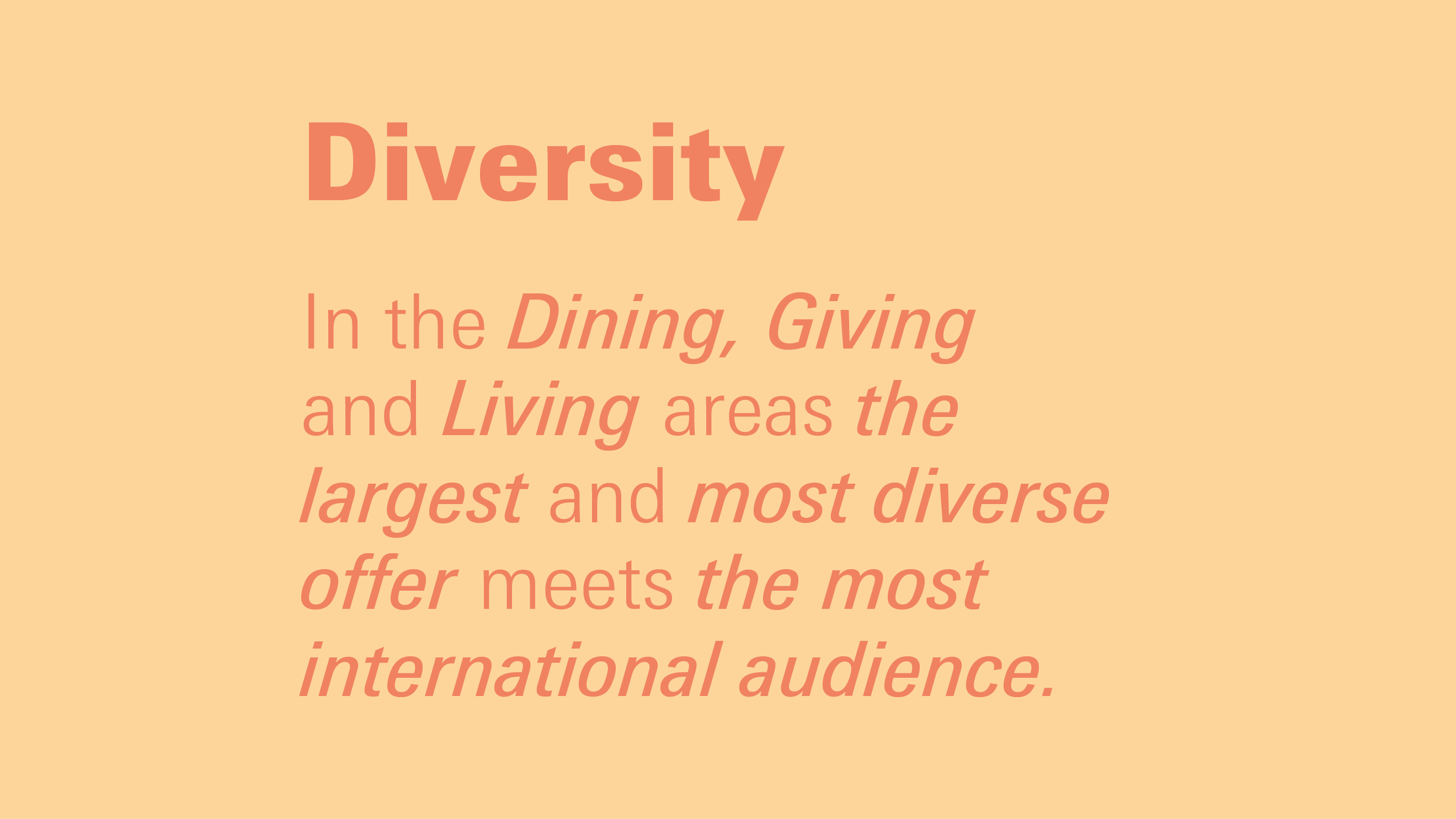 Advantages Ambiente: diversity