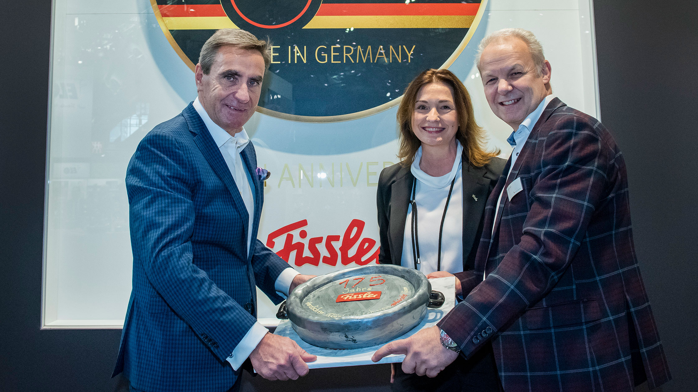 Fissler celebrating its 175th anniversary. From left: Stephan Kurzawski, Claudia Bubach, Thomas Kastl.